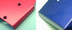アルミ板のアルマイト処理サンプル(赤・青)