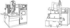 ワイヤ放電加工機(左図)、形彫り放電加工機(右図)