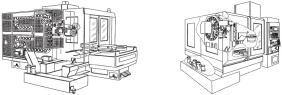横形マシニングセンタ(左図)、立て形マシニングセンタ(右図)